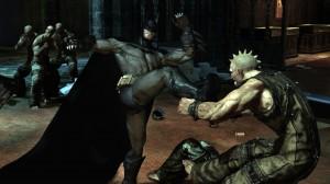 Batman kicking silly looking men.