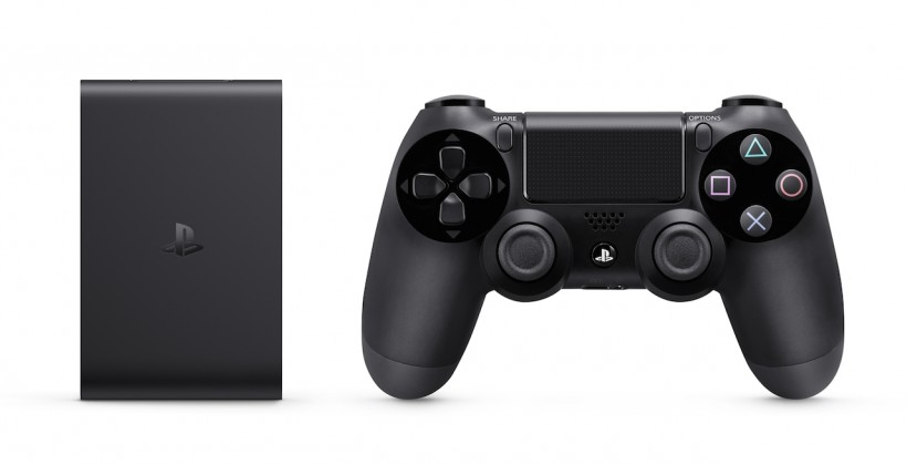 PlayStation TV and Dual Shock 4 size comparison.